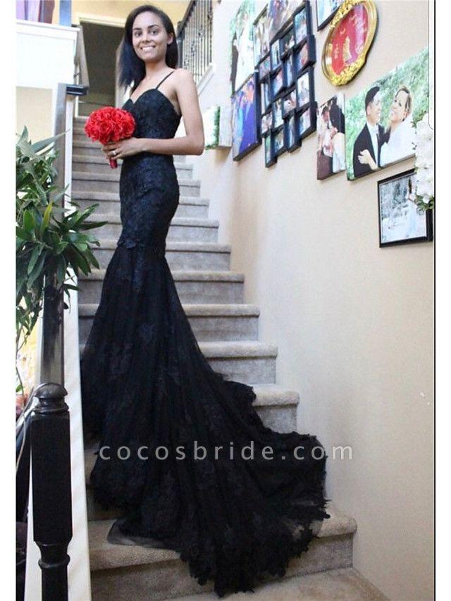 Mermaid \ Trumpet Sweetheart Neckline Chapel Train Lace Satin Tulle Spaghetti Strap Black Wedding Dresses