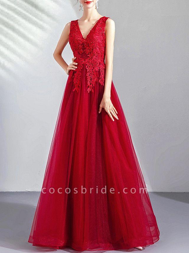 A-Line Wedding Dresses V Neck Floor Length Tulle Regular Straps Romantic Plus Size Red