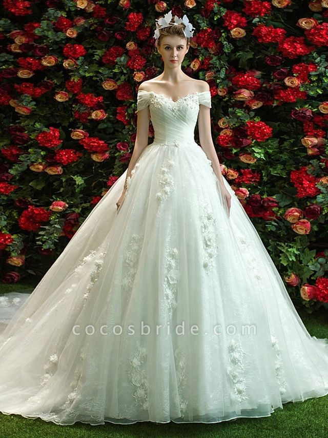 Ball Gown A-Line Wedding Dresses Off Shoulder Court Train Lace Tulle Short Sleeve Country Romantic Illusion Detail Backless