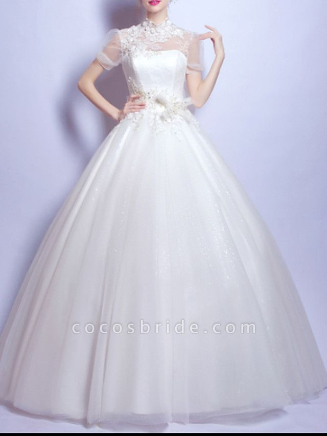 Ball Gown Wedding Dresses Jewel Neck Sweep \ Brush Train Chiffon Tulle Short Sleeve Formal Illusion Detail Plus Size Cute