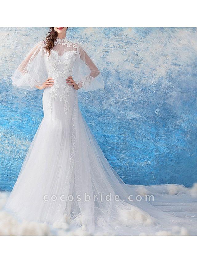 Mermaid \ Trumpet Wedding Dresses Jewel Neck Court Train Chiffon Tulle Long Sleeve Formal Illusion Detail Plus Size