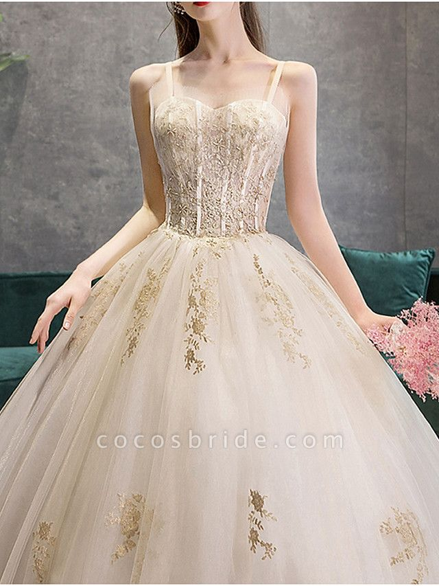 Ball Gown Wedding Dresses Sweetheart Neckline Court Train Polyester Spaghetti Strap