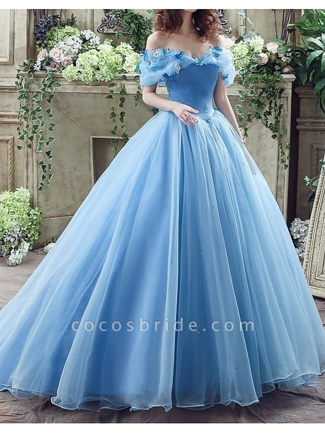 Ball Gown Wedding Dresses Off Shoulder Floor Length Polyester Short Sleeve Country Plus Size