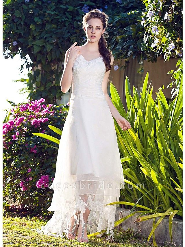 A-Line Wedding Dresses V Neck Asymmetrical Organza Spaghetti Strap