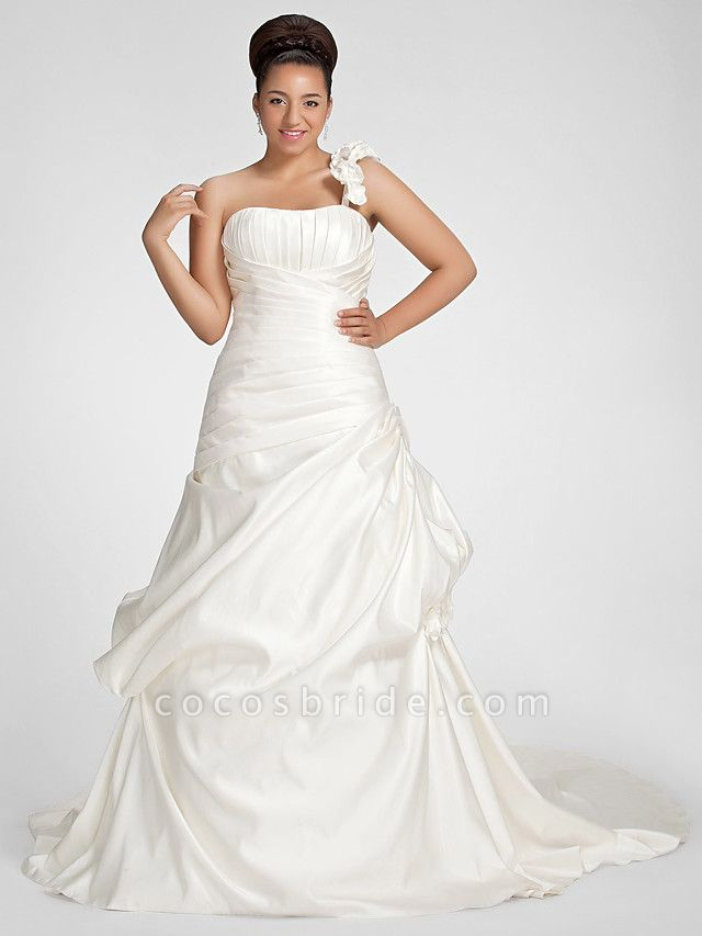 A-Line Wedding Dresses One Shoulder Sweep \ Brush Train Satin Strapless Formal Simple Little White Dress Plus Size