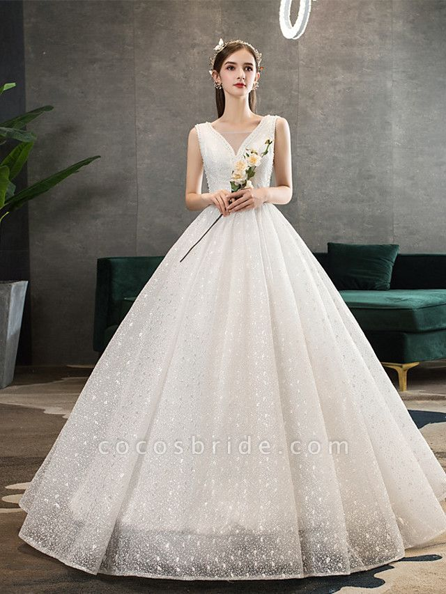 Ball Gown Wedding Dresses V Neck Floor Length Lace Tulle Polyester Sleeveless Romantic Sexy