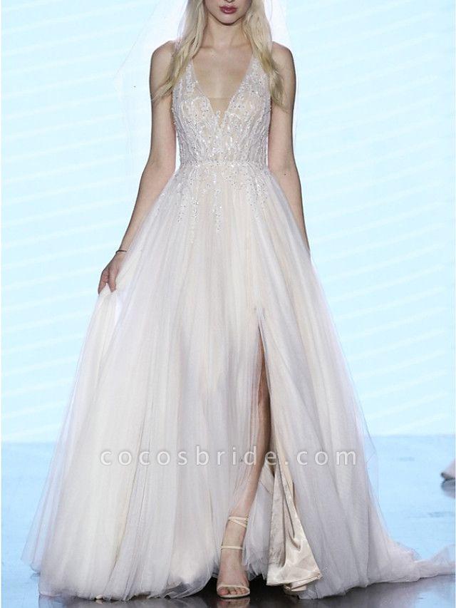 A-Line Wedding Dresses V Neck Sweep \ Brush Train Tulle Regular Straps Boho Plus Size