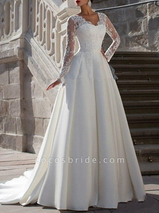 A-Line Wedding Dresses V Neck Sweep \ Brush Train Satin Long Sleeve