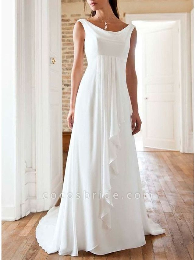 A-Line Wedding Dresses Jewel Neck Sweep \ Brush Train Chiffon Sleeveless Beach