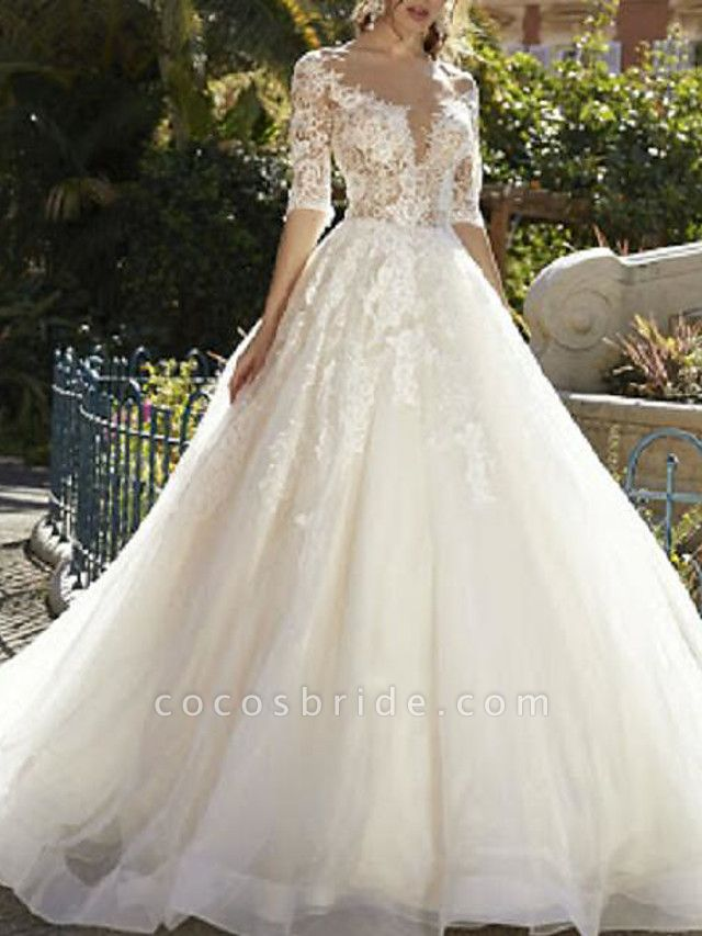 Ball Gown V Neck Sweep \ Brush Train Tulle Polyester Half Sleeve Country Plus Size Wedding Dresses