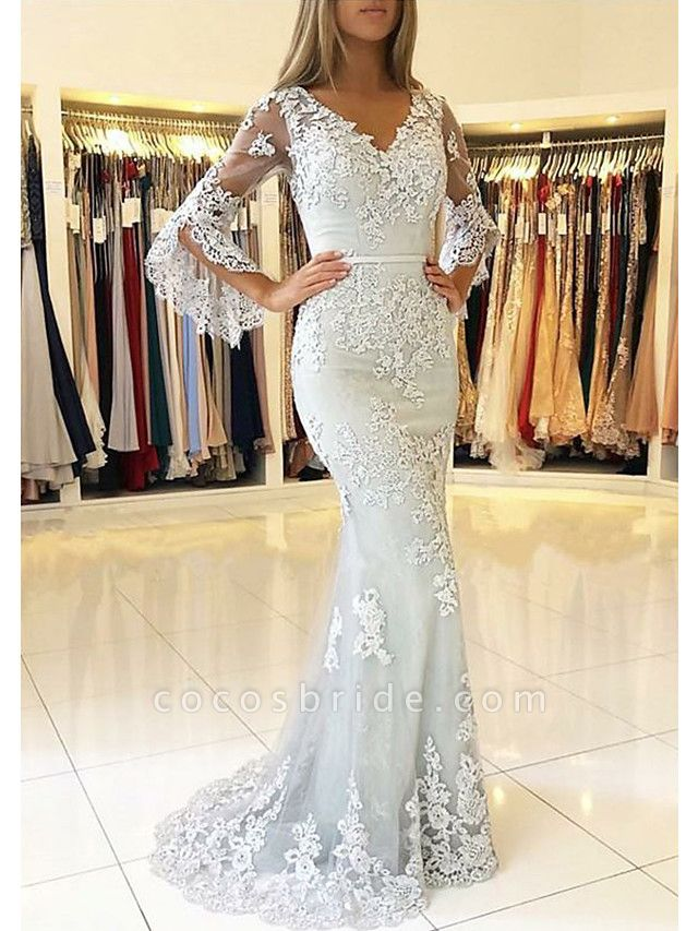 Mermaid \ Trumpet V Neck Sweep \ Brush Train Lace Tulle 3\4 Length Sleeve Sexy See-Through Illusion Sleeve Wedding Dresses