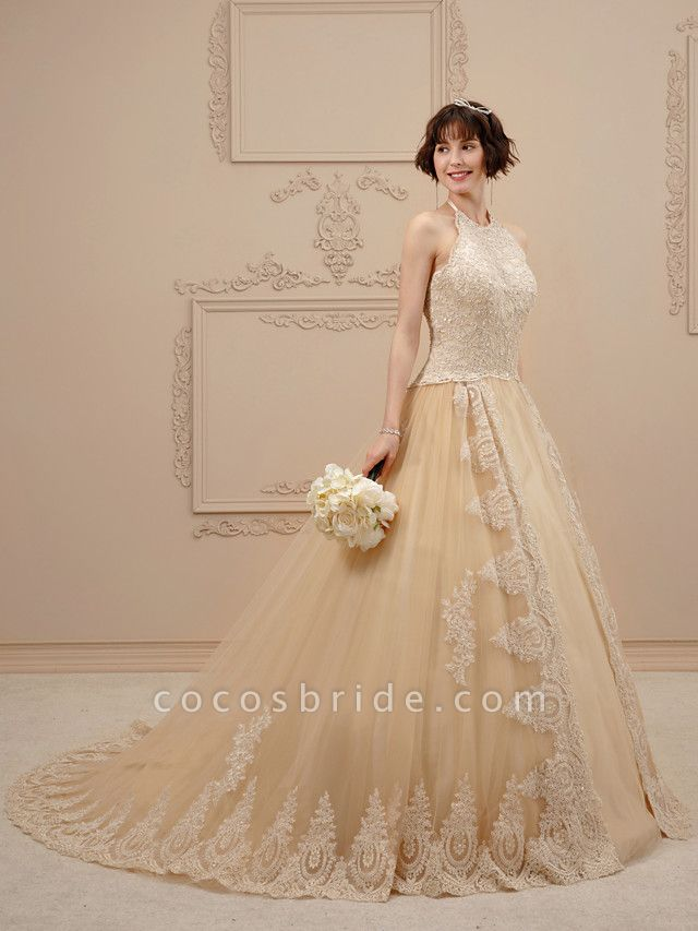 Ball Gown Halter Neck Chapel Train Lace Tulle Spaghetti Strap Glamorous Illusion Detail Wedding Dresses