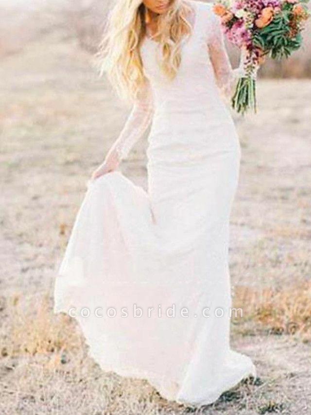 Sheath \ Column Wedding Dresses Scoop Neck Sweep \ Brush Train Lace Long Sleeve Illusion Sleeve