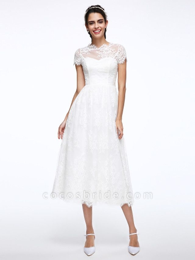 A-Line Wedding Dresses Jewel Neck Tea Length Lace Short Sleeve Simple Casual Illusion Detail Backless