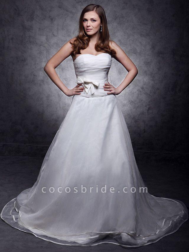 Princess A-Line Wedding Dresses Strapless Sweetheart Neckline Court Train Organza Satin Sleeveless