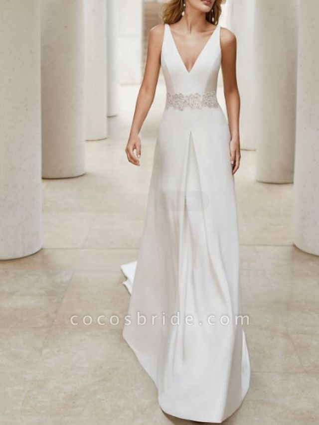A-Line Wedding Dresses V Neck Court Train Satin Sleeveless Formal Plus Size