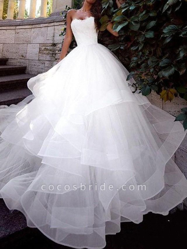 Ball Gown Wedding Dresses Strapless Sweep \ Brush Train Tulle Sleeveless Country Plus Size