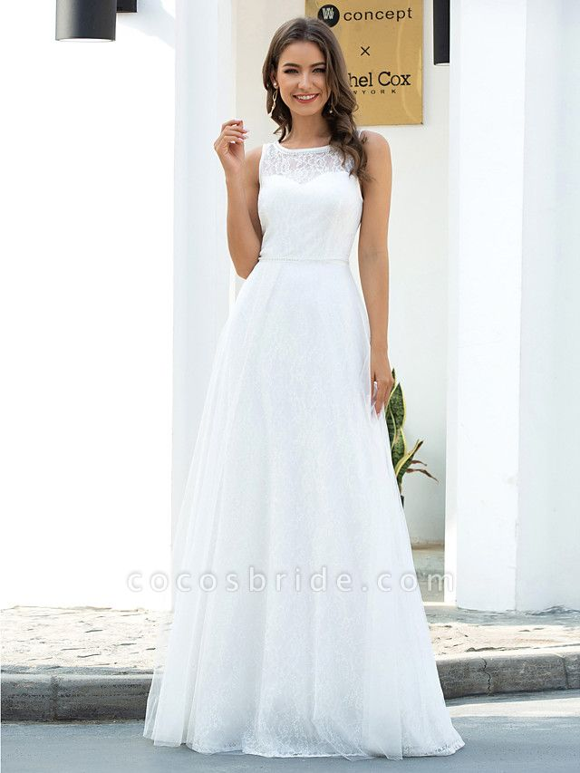 A-Line Wedding Dresses Jewel Neck Floor Length Lace Tulle Sleeveless Country Casual