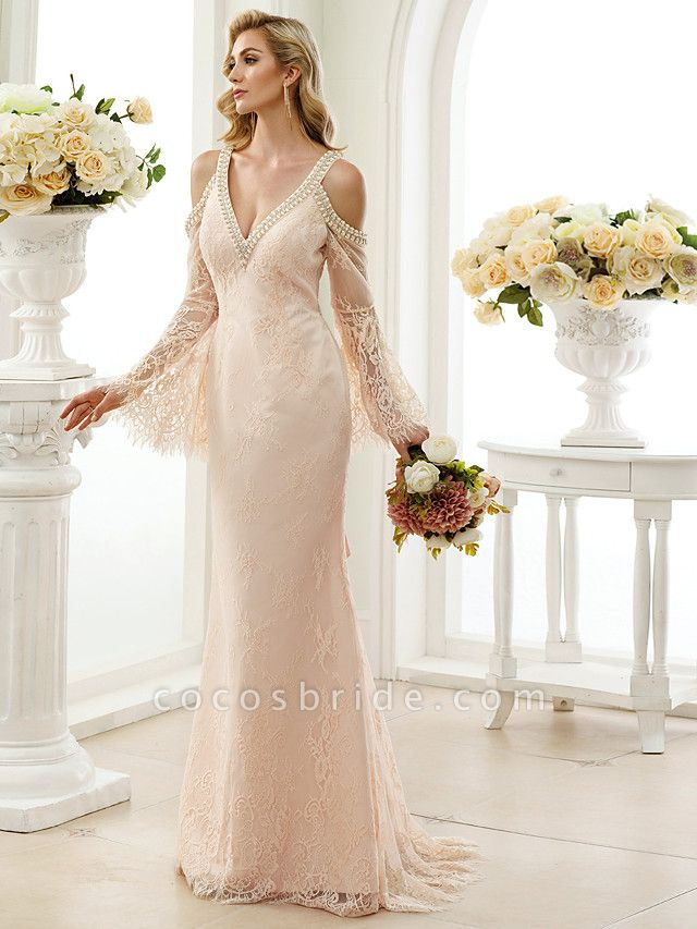 Sheath \ Column Wedding Dresses Plunging Neck Sweep \ Brush Train Sheer Lace Long Sleeve Wedding Dress in Color Open Back Floral Lace