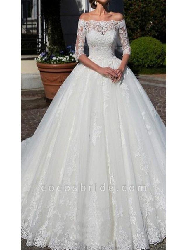 A-Line Wedding Dresses Off Shoulder Chapel Train Lace Half Sleeve