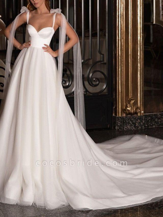 A-Line Wedding Dresses V Neck Spaghetti Strap Sweep \ Brush Train Satin Tulle Sleeveless Simple