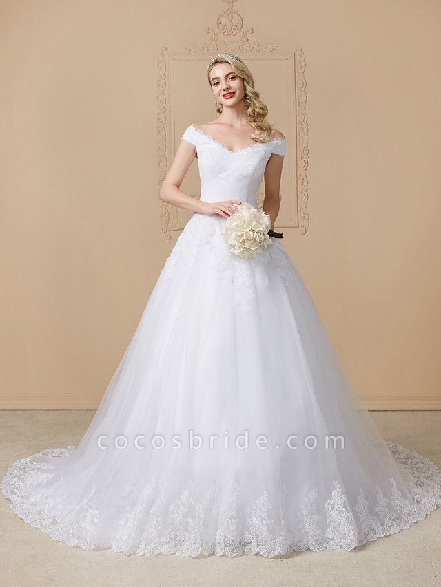 Ball Gown V Neck Cathedral Train Lace Tulle Cap Sleeve Glamorous Illusion Detail Wedding Dresses
