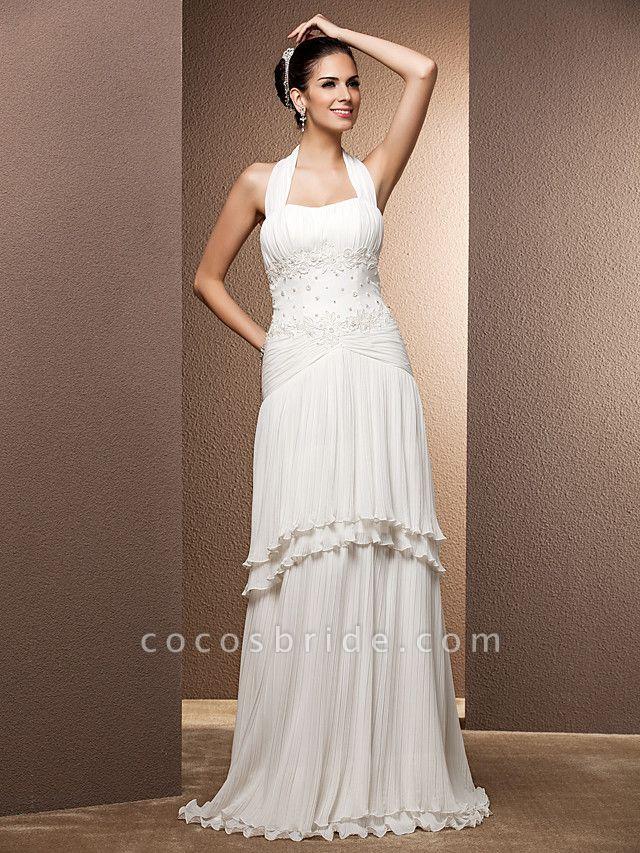 Sheath \ Column Wedding Dresses Halter Neck Floor Length Chiffon Sleeveless