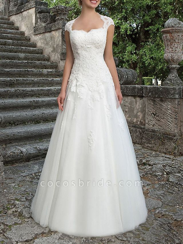 A-Line Bateau Neck Sweep \ Brush Train Lace Tulle Short Sleeve Country Plus Size Wedding Dresses