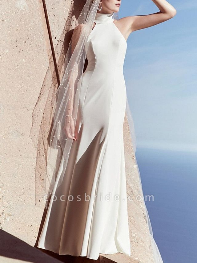 Sheath \ Column Wedding Dresses High Neck Sweep \ Brush Train Satin Regular Straps Plus Size