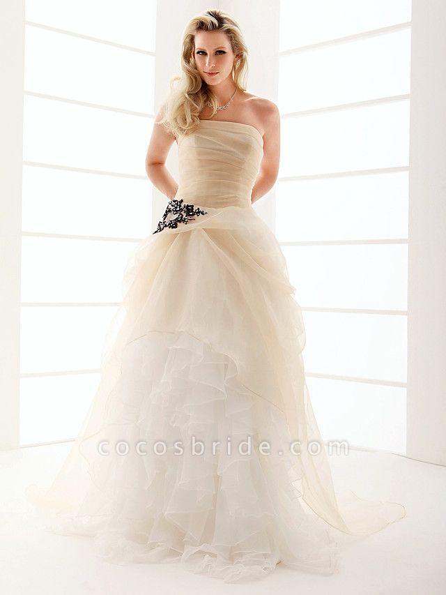 Princess A-Line Wedding Dresses Strapless Floor Length Organza Sleeveless Wedding Dress in Color