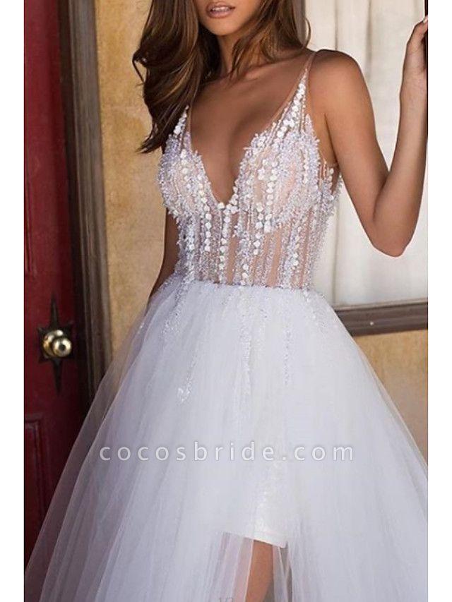 A-Line Wedding Dresses V Neck Asymmetrical Tulle Regular Straps Boho