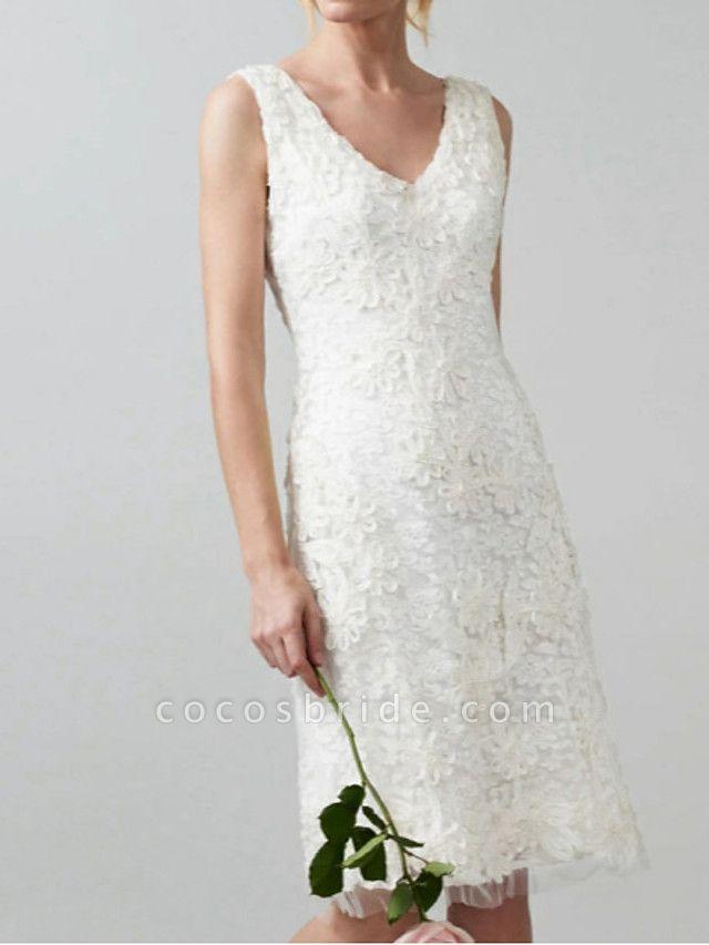 Sheath \ Column Wedding Dresses V Neck Knee Length Lace Regular Straps Casual Little White Dress Illusion Detail