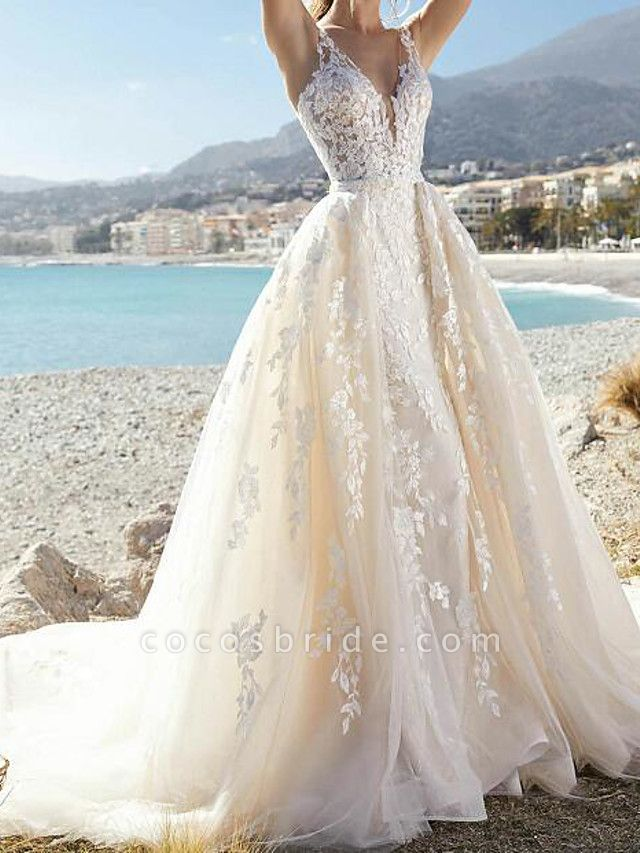 A-Line Wedding Dresses V Neck Court Train Lace Tulle Sleeveless Formal Sexy See-Through