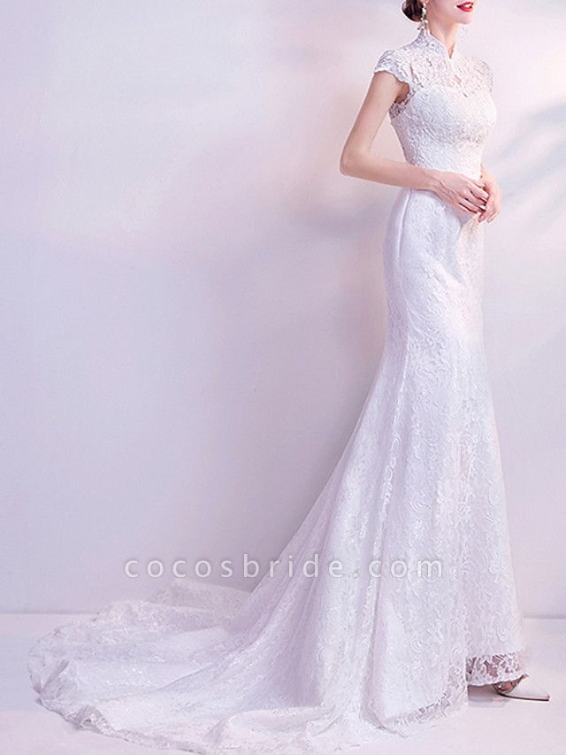 Mermaid \ Trumpet Wedding Dresses High Neck Court Train Chiffon Tulle Cap Sleeve Formal Illusion Detail Plus Size