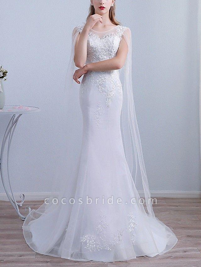Mermaid \ Trumpet Wedding Dresses Jewel Neck Sweep \ Brush Train Lace Long Sleeve Beach Cape