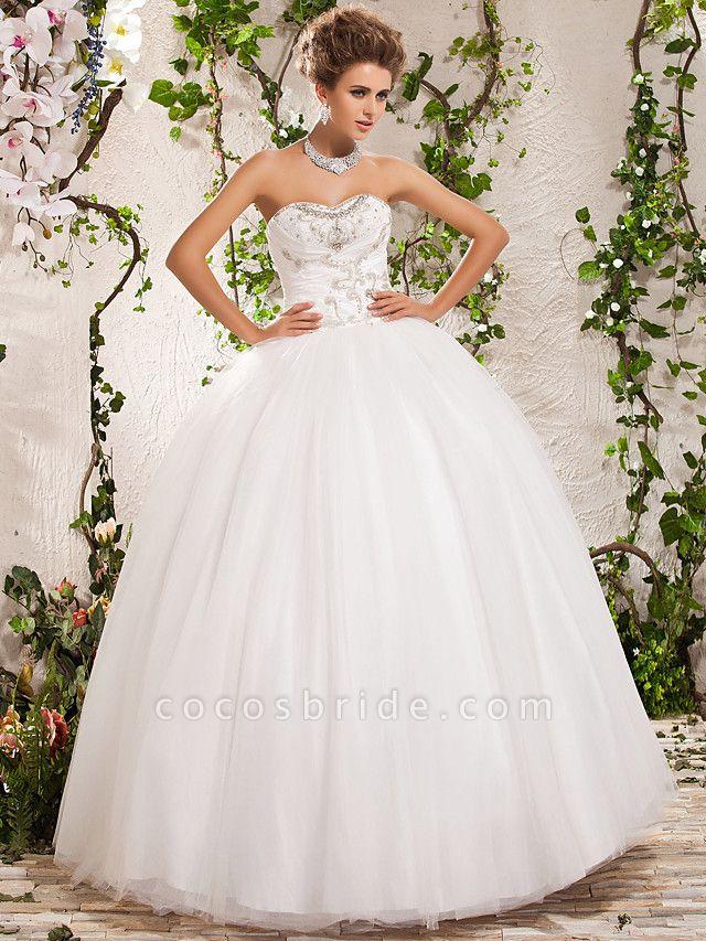 Ball Gown Strapless Sweetheart Neckline Floor Length Tulle Sleeveless Sparkle & Shine Wedding Dresses
