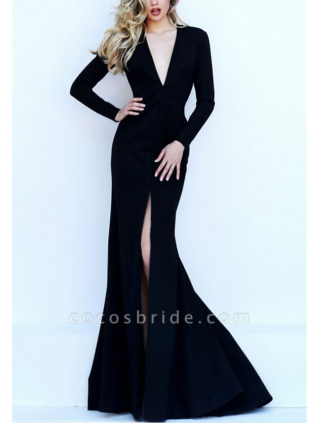 Mermaid \ Trumpet Wedding Dresses V Neck Floor Length Satin Long Sleeve Formal Black