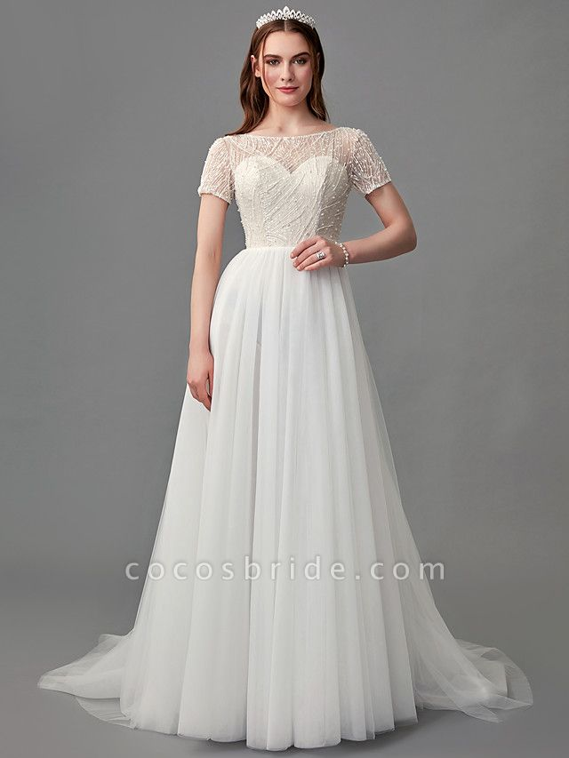 A-Line Wedding Dresses Jewel Neck Sweep \ Brush Train Lace Satin Tulle Short Sleeve 3\4 Length Sleeve Sexy