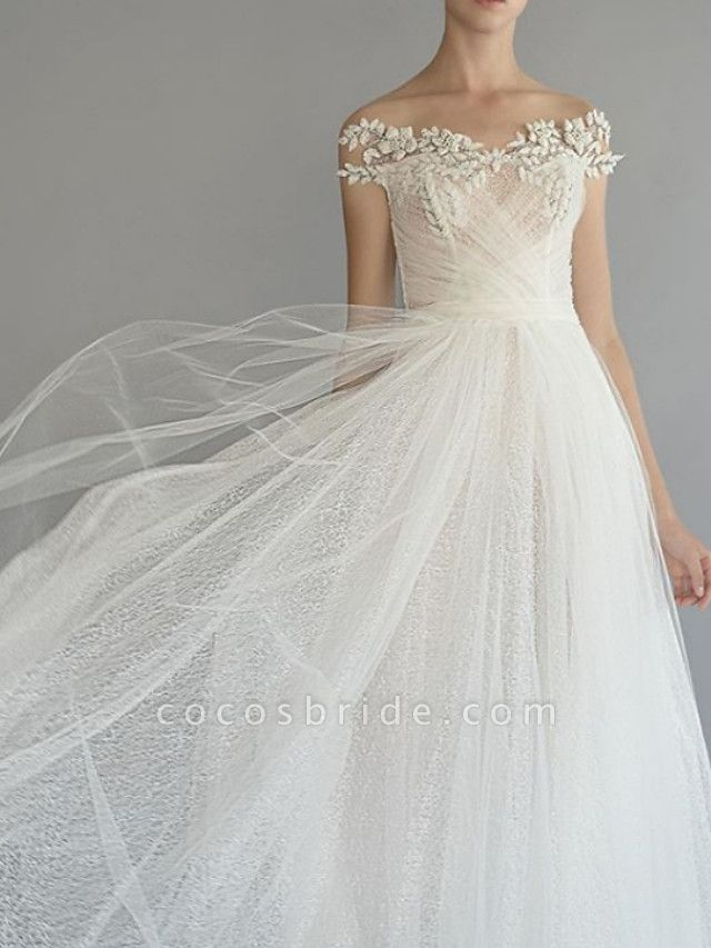 A-Line Wedding Dresses Off Shoulder Sweep \ Brush Train Lace Tulle Short Sleeve