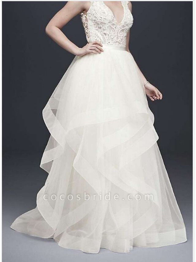 A-Line V Neck Floor Length Tulle Sleeveless Casual Plus Size Wedding Dresses