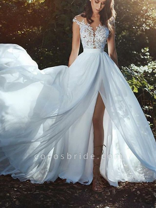 A-Line Wedding Dresses V Neck Court Train Chiffon Lace Sleeveless Country Beach Sexy