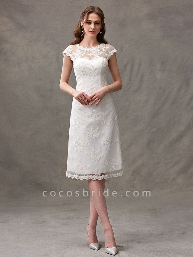 A-Line Wedding Dresses Jewel Neck Knee Length Floral Lace Cap Sleeve Casual See-Through Backless
