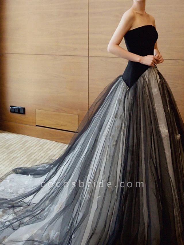 A-Line Strapless Sweep \ Brush Train Polyester Strapless Formal Plus Size Black Wedding Dresses