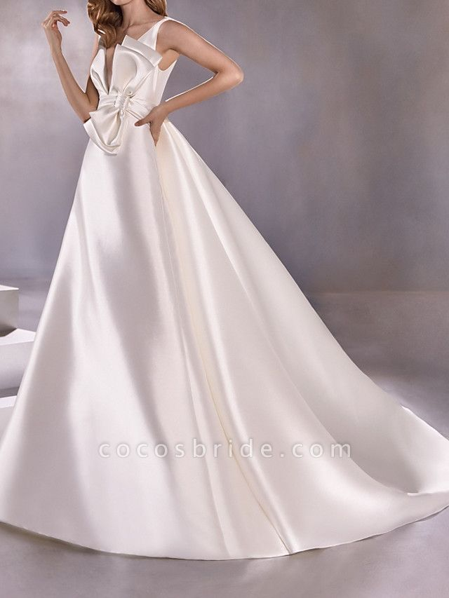 A-Line Wedding Dresses Plunging Neck Sweep \ Brush Train Satin Sleeveless Vintage Plus Size