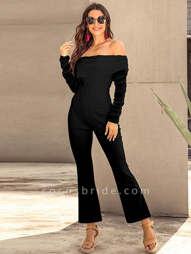 Women's Basic Off Shoulder White Black Royal Blue Slim Jumpsuit