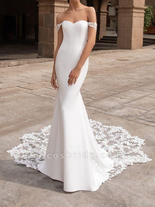 Mermaid \ Trumpet Wedding Dresses Off Shoulder Court Train Polyester Short Sleeve Simple Plus Size