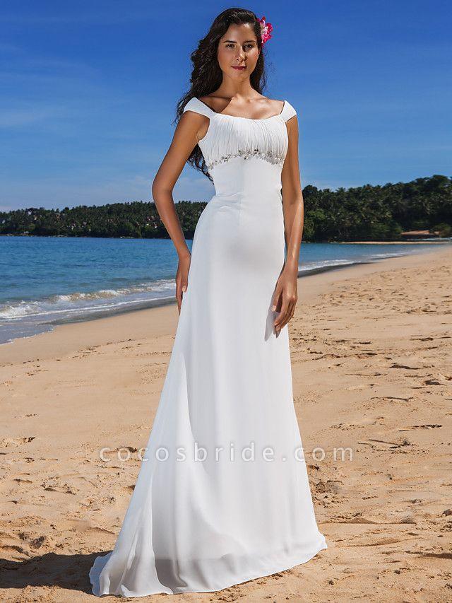 Sheath \ Column Wedding Dresses Scoop Neck Sweep \ Brush Train Chiffon Cap Sleeve Beach Plus Size