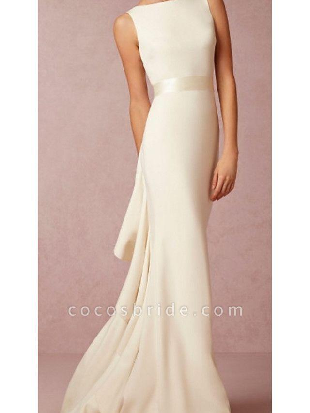 Mermaid \ Trumpet Wedding Dresses Jewel Neck Sweep \ Brush Train Lace Regular Straps Formal Plus Size