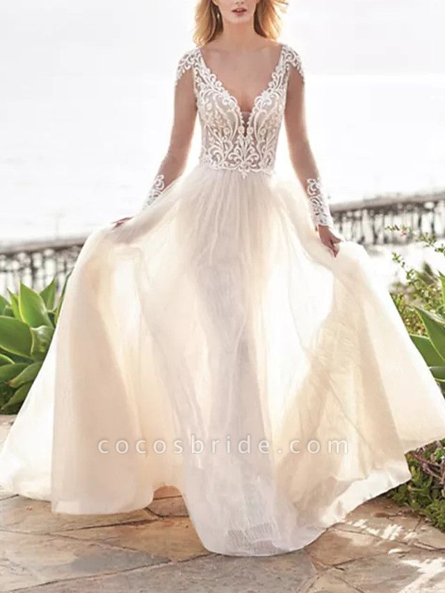 A-Line Wedding Dresses V Neck Sweep \ Brush Train Tulle Polyester Long Sleeve Country Beach Plus Size Illusion Sleeve
