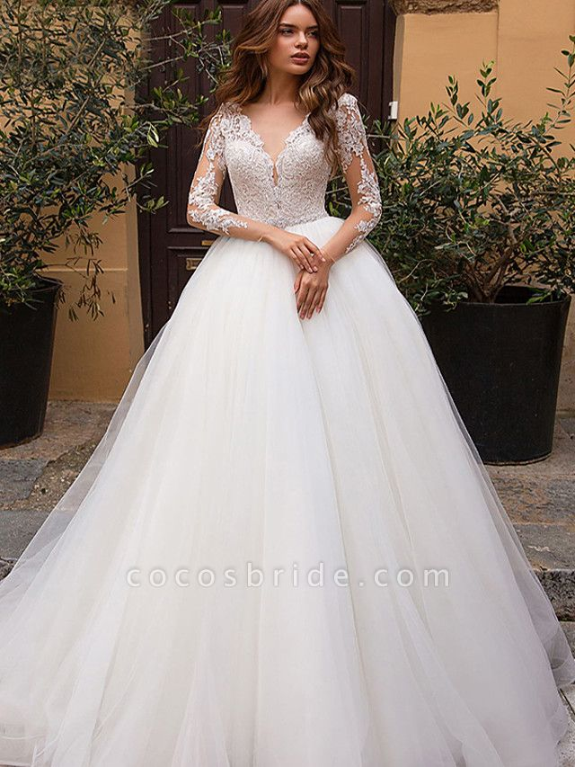 A-Line Wedding Dresses V Neck Court Train Tulle Long Sleeve Formal Casual Beach Illusion Sleeve